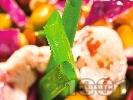 Рецепта Салата от червено зеле, грах, царевица и пилешко месо от бон филе